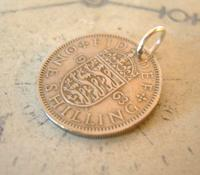Vintage Pocket Watch Chain Fob 1963 Lucky Silver One Shilling Old 5d Coin Fob (7 of 7)