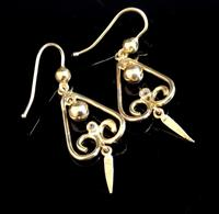 Antique Victorian Diamond Drop Earrings, 15ct Gold (2 of 10)