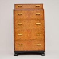 1930's Art Deco Burr Elm & Walnut Chest of Drawers (7 of 11)