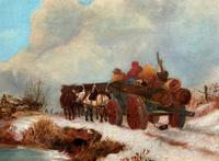 'The Loggers Return Home' Superb Antique Winter Landscape Oil on Canvas Painting (7 of 12)