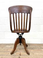 Early 20th Century Antique Oak Swivel Desk Chair (10 of 10)