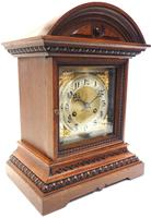 Superb Antique German Oak 8-Day Mantel Clock Quarter Striking Bracket Clock by Junghans (3 of 8)