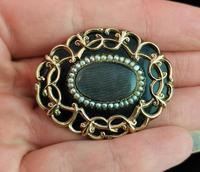 Antique Victorian Mourning Brooch, 9ct Gold Black Enamel (9 of 10)