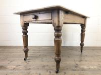Antique Pine Farmhouse Kitchen Table with Drawer (9 of 13)