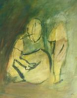 Original oil on canvas 'Mother and child' by Doreen Heaton Potworowski. 1920-2014. Initialled 1973. Framed. (2 of 2)