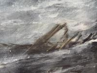 Huge 19th Century Seascape Oil Painting Sinking Ship Signalling Rescuers by Henry E Tozer (58 of 58)