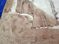 """18th Century Old Master Pen & Ink """"Ruins"""" (4 of 6)"""