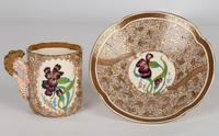 Zsolnay Pecs Hungarian Hand Painted Floral Cabinet Cup & Saucer c.1890 (13 of 16)