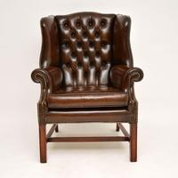 Antique Georgian  Style  Leather Wing Back Armchair (2 of 10)