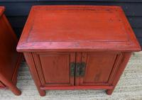 Excellent Pair of Chinese Red Lacquered Cabinets / Cupboards c.1900 (8 of 15)