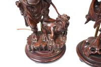 Set Hand Carved Chinese Buddha Lamps Antique Lights Figurines 1880 (5 of 16)