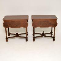 Pair of Antique Burr Walnut Drop Leaf Side Tables (6 of 12)