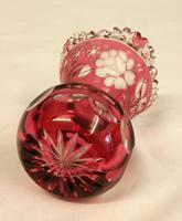 Pretty Pair of Heavy Cut Glass Ruby Vases (3 of 5)