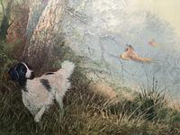 """20th Century Oil Painting """"Hunting Setter Dog & Pheasants in Flight"""" Signed Leiford (8 of 17)"""