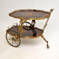 Vintage Italian Brass & Marquetry Drinks Trolley (11 of 14)