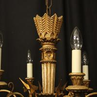French Giltwood Polychrome 6 Light Chandelier (6 of 10)