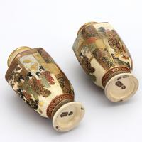 Pair of Small Meiji Period Japanese Satsuma Vases Signed Hododa c1890 (9 of 10)