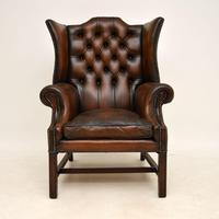 Antique Leather & Mahogany  Wing Back Armchair (2 of 9)