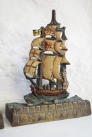 Pair of Painted Bronze Sailing Ship Doorstops or Bookends (7 of 10)