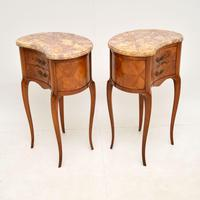 Pair of Antique French Marble Top Kidney Bedside Tables (8 of 12)