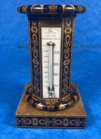 Victorian Burr Maple Thermometer & Compass by Thomas Barton (3 of 14)