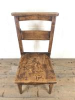 Set of Four Victorian Elm Chapel Chairs (5 of 8)