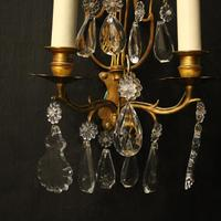 French Pair of Gilded Twin Arm Wall Lights (8 of 10)