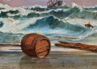 Large Spectacular 19th Century British Seascape Oil Painting - Shipwreck in Rough Seas! (8 of 13)