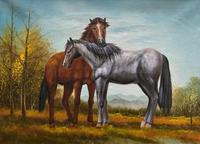 Original Signed 20th Century Vintage Horse & Foal Equestrian Oil on Canvas Painting (2 of 10)