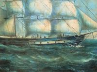 Original Seascape Oil Painting of 18th Century Tall-Masted Ship on the High Seas (5 of 12)