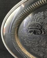 Large Oval Chased Silver Plated Butlers Tray (4 of 4)