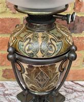 Superb Doulton Lambeth Oil Lamp by Mark V Marshall, 1881 (2 of 18)