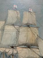 Original Seascape Oil Painting of 18th Century HMS Victory Docked White Cliffs Of Dover (6 of 11)