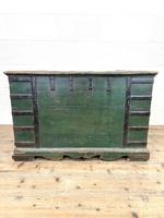 Large Distressed Painted Metal Bound Trunk (10 of 10)
