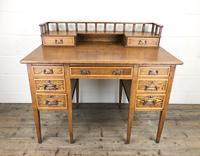 Edwardian Antique Oak Kneehole Desk (13 of 13)