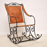 Antique Wrought Iron & Leather Rocking Chair (4 of 12)