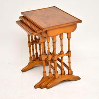 Antique Georgian Style Yew Wood Nest of Tables (4 of 7)
