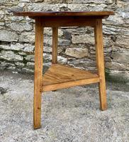 Antique Pine Cricket Table with Shelf (8 of 11)