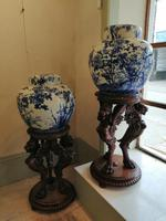 Extremely Rare Pair of Meiji Period Japanese Blue & White Ginger Jars (12 of 12)