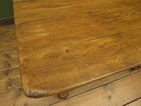 Antique Country Pine Plank Top Table with Drawer, Kitchen Dining Table Seats 4 (9 of 10)