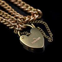 "Vintage Heart Padlock Fancy Curb 9ct 9K Gold Bracelet 6"" (6 of 11)"