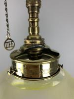 Victorian Gas Pole Brass Ceiling Light With Original Etched Shade; Rewired (2 of 11)