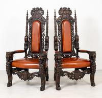 Superb Pair of Oak Throne Chairs (8 of 14)