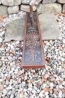 Scandinavian / Danish 'Folk Art' Horse handle mangle board with chip carving & original  black/red paint BPD c.1820 (14 of 19)