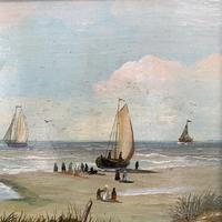 Antique coastal seascape oil painting of fishing boats signed YT (7 of 9)