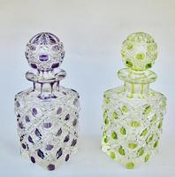 Beautiful Pair of French Lime & Amethyst Glass Hobnail Cut Scent Bottles c.1900 (7 of 7)