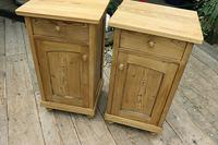 Fabulous! Pair of Old Stripped Pine Bedside Cabinets / Cupboards - We Deliver! (3 of 9)