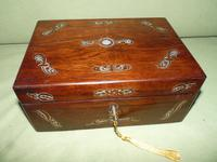 Inlaid Rosewood Jewellery / Table Box c.1860 (3 of 8)