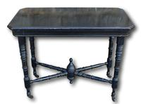 Victorian Ebonised Fold Over Card Table On Original Casters (2 of 5)
