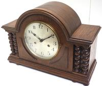 Solid Oak Hat Shaped Mantel Clock 8-day by Hac Westminster Chime (7 of 10)
